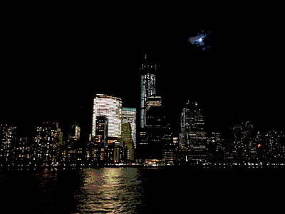 Moonrise Over Freedom Tower Poster by Lewis Mengersen