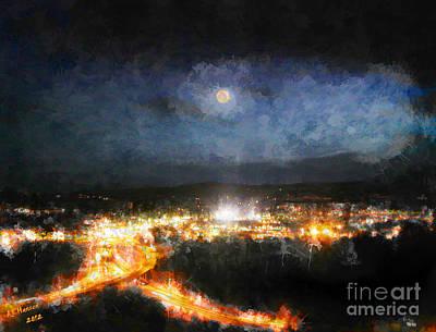 Moonshine Over Prescott Poster by Arne Hansen