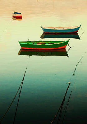 Moored Boats At Sunset Poster by Juan R. Fabeiro