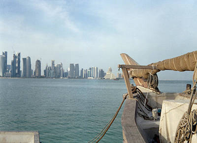 Moored Dhow And Doha Poster