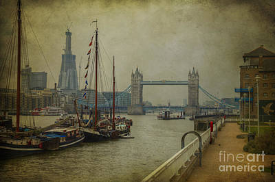 Poster featuring the photograph Moored Thames Barges. by Clare Bambers