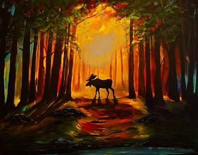Moose Sunset Poster by Leslie Allen