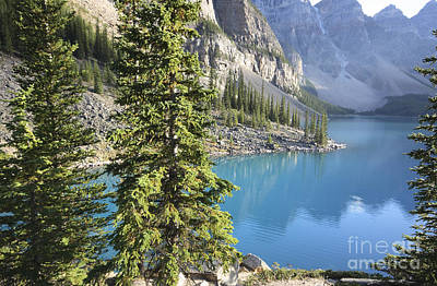 Poster featuring the photograph Moraine Lake  by Milena Boeva