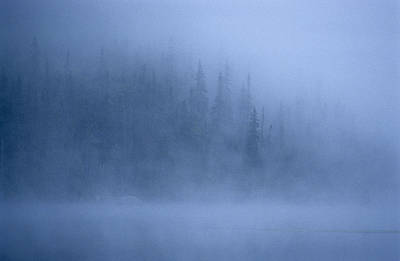 Morning Mist Rises Off A Lake Poster by Kenneth Ginn