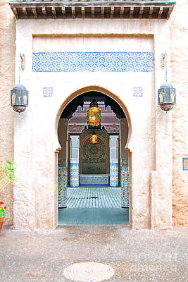 Morocco Pavilion Doorway Lamps Courtyard Fountain Epcot Walt Disney World Prints Accented Edges Poster by Shawn O'Brien