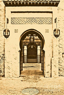 Morocco Pavilion Doorway Lamps Courtyard Fountain Epcot Walt Disney World Prints Rustic Poster by Shawn O'Brien