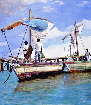 Poster featuring the painting Mosambique Fishermen by Stuart B Yaeger