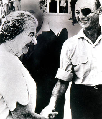 Moshe Dayan R., With Golda Meir Ca. 1970 Poster