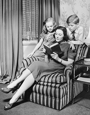 Mother Reading To Daughter & Son Poster by George Marks