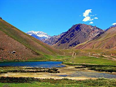 Mount Aconcagua Seen From Laguna De Horcones Poster