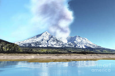 Mount Saint Helens Simmers Poster by Corey Ford