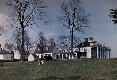 Mount Vernon Sits On A Hill Overlooking Poster by Clifton R. Adams