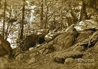 Mountain Rocks Sepia Poster by Maynard Smith