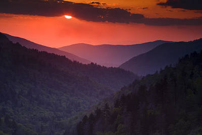 Mountain Sunset Poster by Andrew Soundarajan