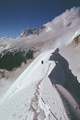 Mountaineer At 20,000 On North Ridge Poster