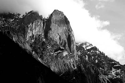 Mountains Of Yosemite . 7d6167 . Black And White Poster by Wingsdomain Art and Photography