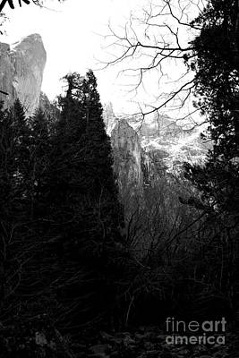 Mountains Of Yosemite . 7d6214 . Black And White Poster by Wingsdomain Art and Photography