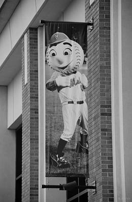 Mr Met In Black And White Poster by Rob Hans