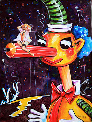 Poster featuring the painting Mr Squiggles New Friend by Leanne Wilkes