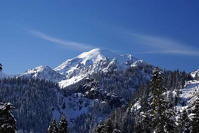 Poster featuring the photograph Mt. Rainier In Contrast by Rob Green