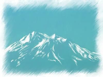 Mt Shasta Snow Melts To Blue Sketch Poster