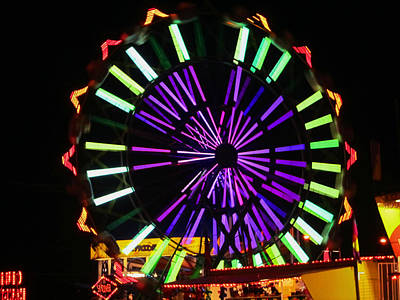 Poster featuring the photograph Multi Colored Ferris Wheel by Kym Backland