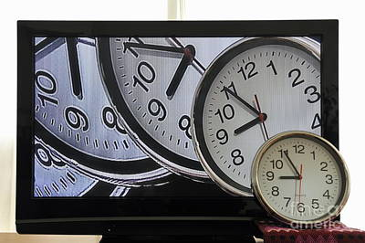 Multiple Clocks On Tv Screen Poster by Sami Sarkis