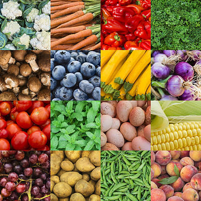 Multiple Image Showing Variety Of Edible Goods Poster by Tetra Images