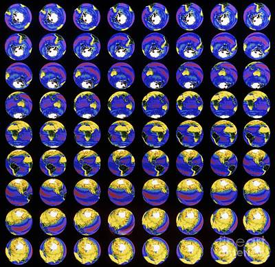 Multiple Satellite Images Of The Earths Poster by Dr. Gene Feldman, NASA Goddard Space Flight Center