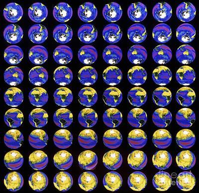 Multiple Satellite Images Of The Earths Poster by Dr. Gene Feldman, NASA Goddard Space Flight Center