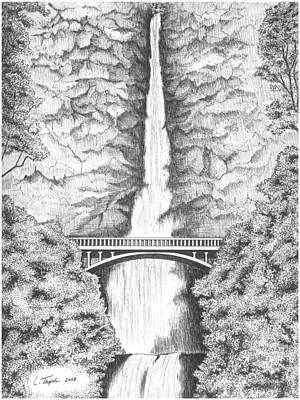 Multnomah Falls Poster by Lawrence Tripoli