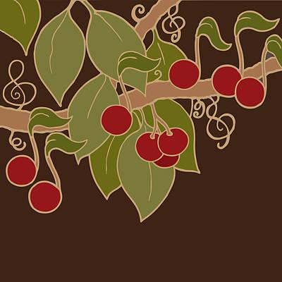 Musical Cherries Poster