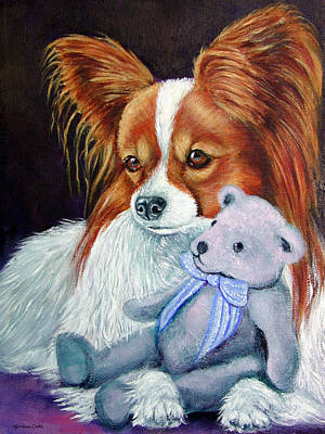 My Blue Teddy - Papillon Dog Poster by Lyn Cook