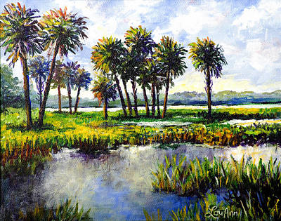 Poster featuring the painting Myakka Lake by Lou Ann Bagnall