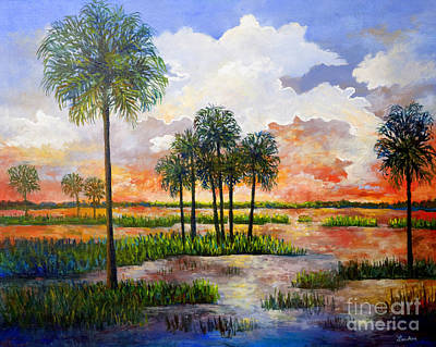 Poster featuring the painting Myakka Sunset by Lou Ann Bagnall
