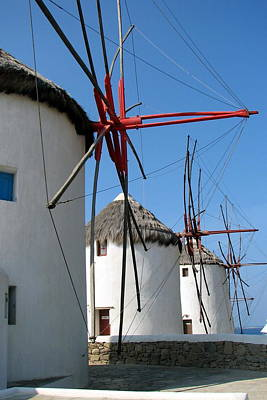 Poster featuring the photograph Mykonos Windmills by Carla Parris