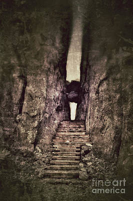 Mysterious Stairway Into A Canyon Poster by Jill Battaglia