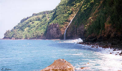 Poster featuring the photograph Na Pali Coast Waterfall by C Sitton