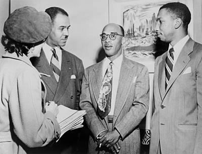 Naacp Leaders During Press Conference Poster by Everett