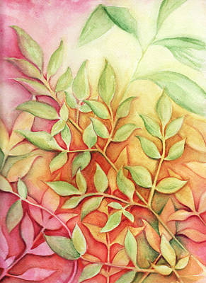 Poster featuring the painting Nandina Leaves by Carla Parris
