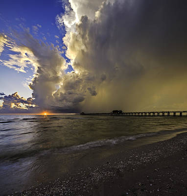 Naples Pier Storm Sunset Poster by Nick  Shirghio