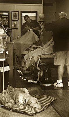 Napping At The Barbershop Poster by Steve Gravano