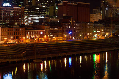 Nashville River Front By Night 1 Poster by Douglas Barnett