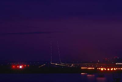 National Airport Runway At Night Poster by Medford Taylor