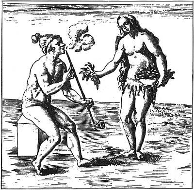 Native American Smoking, 1591 Poster by Granger
