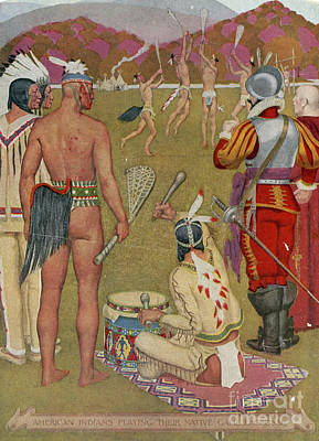 Native Americans Playing Lacrosse Poster