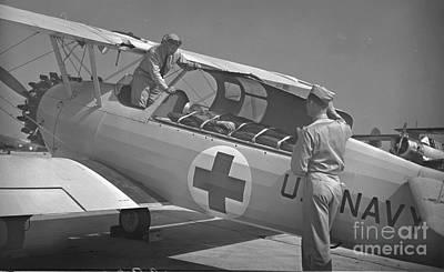 Navy Air Ambulance 1943 Bw Poster by Padre Art