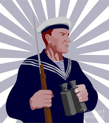 Navy Sailor Rifle Binoculars Retro Poster