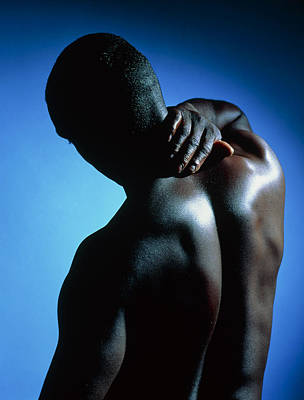 Neck/shoulder Pain: Black Man With Hand On Neck Poster by Damien Lovegrove