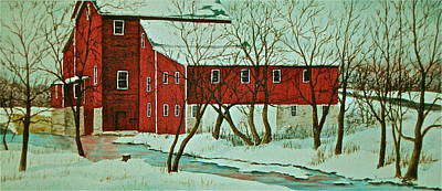Poster featuring the painting Nelsonville Mill by Carolyn Rosenberger